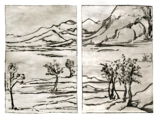 Traditional painting landscape engraving linocut diptych