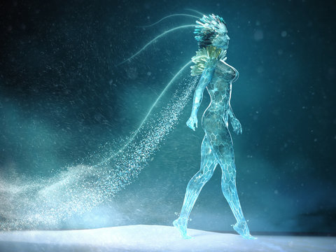 3d illustration of beautyful ice woman with glowing crystal crown and small crystals on the body walking bold full length with snowflakes swirling around . snow magic queen music poster concept render