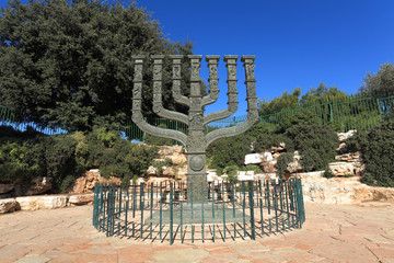 Poster Historic monument Sculpture of the Knessets Menorah in Jerusalem