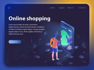 Online Shopping. Vector Isometric Illustration.