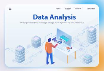 Data Analysis. Vector Isometric Illustration.