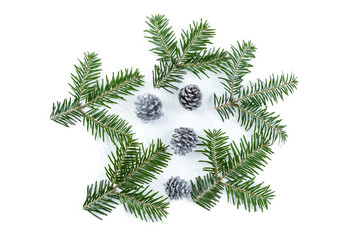 Vector Christmas seamless background with fir branches, cones, on white background