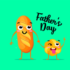 Cute family, daddy with child. Happy Father s day. Breads characters as symbols of love and warm.