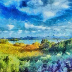 Hand drawing watercolor art on canvas. Artistic big print. Original modern painting. Acrylic dry brush background. Beautiful bright suumer landscape. Blue sky. Green grass valley.