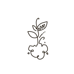 Vector Line Icon. Sprout. Gardening. One line drawing. Isolated on white background