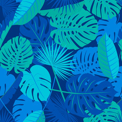 Beautiful seamless tropical jungle floral pattern background with different palm leaves