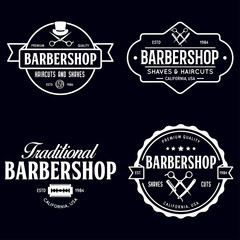 Set of vintage barbershop labels. Templates for the design of logos and emblems. Collection of barbershop - symbols razor, pole, scissors.