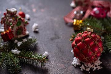 Christmas composition on dark vintage background.