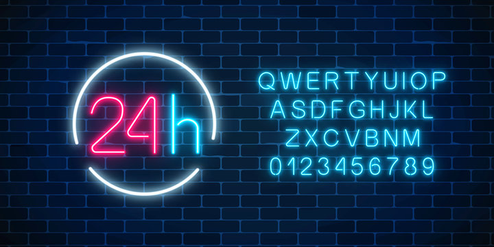 Neon open 24 hours sign in circle frame with alphabet. Round the clock working bar or store signboard with lettering.