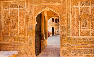 Architectural detail of the Mandir Palace, Jaisalmer, Rajasthan, India.