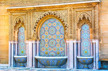Printed roller blinds Morocco Moroccan style fountain with fine colorful mosaic tiles at the Mohammed V mausoleum in Rabat Morocco