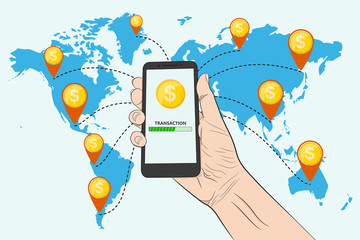 Sending money with a smartphone. Vector illustration