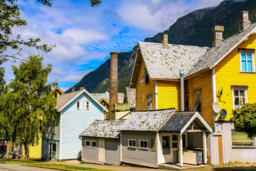 Traditional old houses in Odda, Norway.