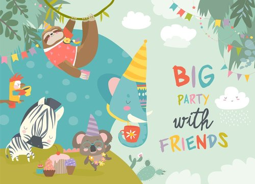 Vector birthday background with happy cartoon animals