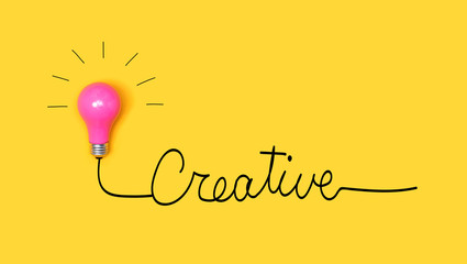 Wall Mural - Creative hand wiriting text with light bulb