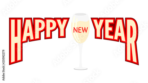 happy new year banner with two glasses of champagne