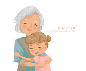 Granny and niece are hugging each other. Grandmother and granddaughter smiling happy. Family relationship the concept of insurance for seniors and their children's education. Card design