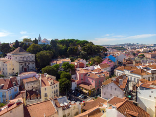 Beautiful super wide-angle aerial view of Lisbon, Portugal shot from drone