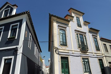 residencial area of aveiro with colorful houses