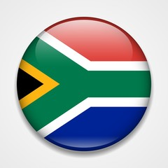 Flag of South Africa. Round glossy badge