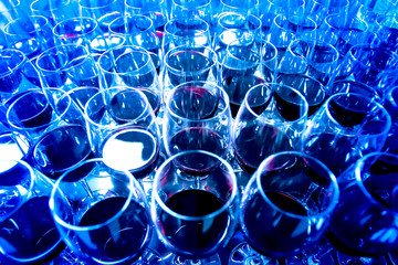 Glasses of wine. Many glasses of red wine. Buffet. Organization of buffets.