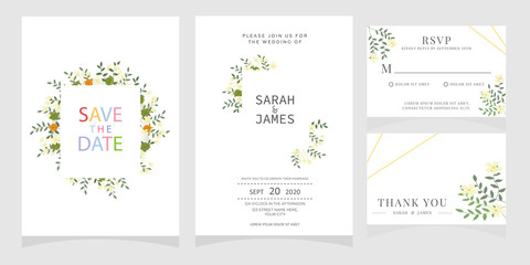 wedding card invitation with beauty flowers. Wedding Invitation floral invite Rsvp cute card vector Designs set