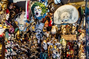 Venetian masks in store display in Venice, Italy