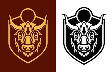 Buffalo head sihouettes on shield vector emblem