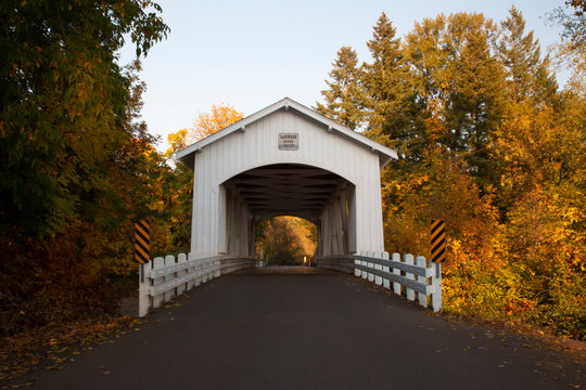 Distant center front perspective of Larwood covered bridge with fall color trees in a rural area in Oregon.