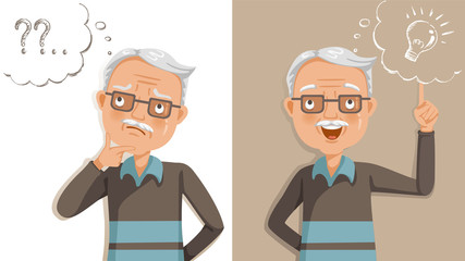elderly thinking. Emotions and gestures. Think not, do not understand, Think out. Concept learning of brain and alzheimer's disease of elderly. Cartoon illustrations vector. The contradictory emotions Wall mural