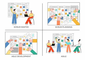 Vector illustration set of scrum planning technique of teamwork on software development banners with various scenes of agile teamwork in trendy flat style isolated on white background.