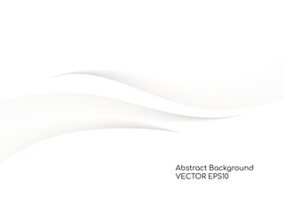 Abstract white background 3D concave wave texture smooth curve line with shadow.  For vector background, banner, divider, design element.