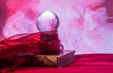 Still life with a crystal ball for fortune telling