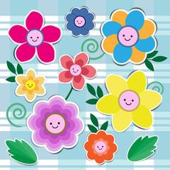 set of cute flowers