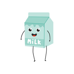 Vector illustration of cardboard box with milk cartoon character isolated on white background - smiling emoticon of blue paper package with healthy dairy drink in flat style.