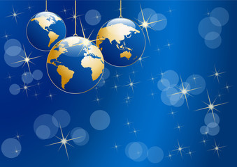 Christmas tree, vector postcard in blue. Balls in the shape of planet earth, background