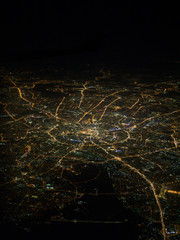 An aerial view of Moscow city from an airplane