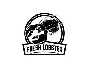 Fresh seafood. Emblem template with lobster. Design element for logo, label, emblem, sign, poster.