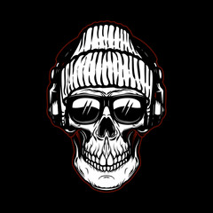 Vintage hipster skull in sunglasses and headphones. Design element for poster, t shirt, card, emblem.