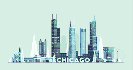 Wall Mural - Chicago skyline United States city drawn vector