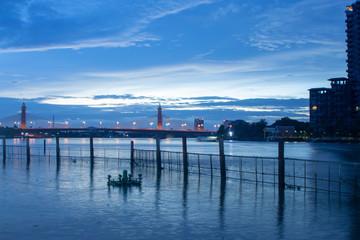 blue sky river and brige