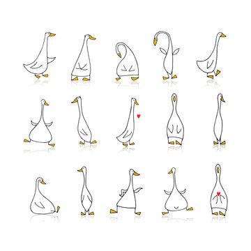 Funny goose set, sketch for your design