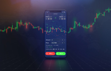Futuristic stock exchange scene with mobile phone, chart, numbers and BUY and SELL options (3D illustration)