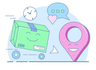 Gift delivery, Packed box and geolocation symbol