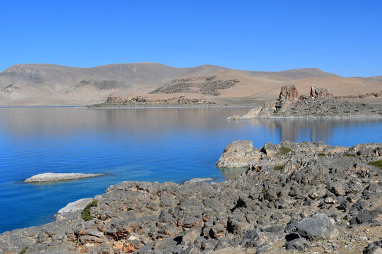 Tibet, lake Nam-Tso (Nam Tso) in summer, 4718 meters above sea level.  Place of power