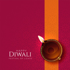 happy diwali diya background with diya decoration