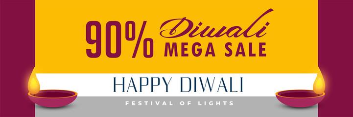 happy diwali horizontal sale banner design
