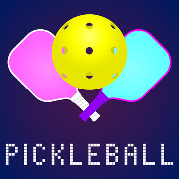 rackets or paddles and ball for pickleball game in modern color. flat icon, logo or label clipart. stock vector illustration