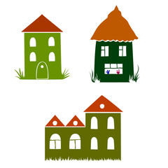 funny vector houses with red roofs