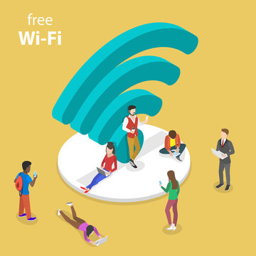 Isometric flat vector concept of free wifi, wi-fi hotspot, public access.